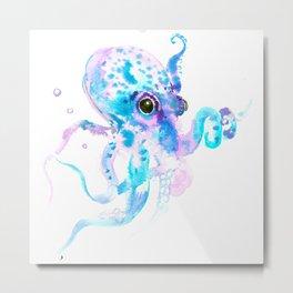 Sky Blue Soft Pink Turquoise Violet Octopus, teal animal beach art Metal Print