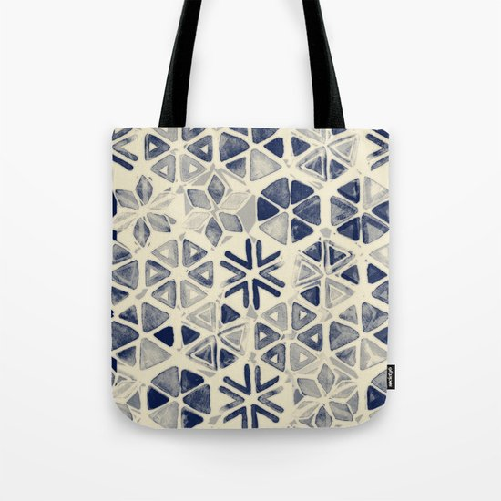 Hand Painted Triangle & Honeycomb Ink Pattern - indigo & cream Tote Bag