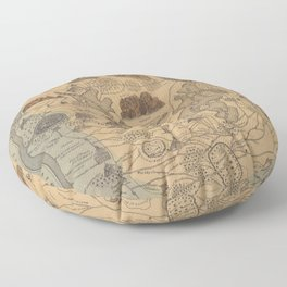 Old Biblical Map of The Sacred Writ (1847) Floor Pillow