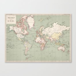 Vintage Map of The World (1915) Canvas Print