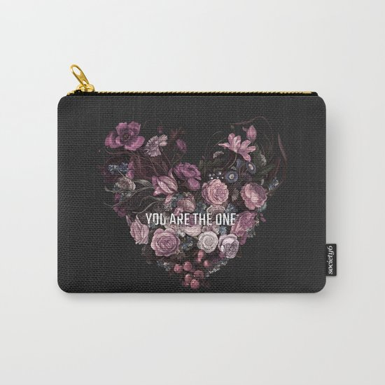 You Are The One // Floral Valentine's Heart Carry-All Pouch