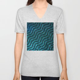 Blue Glitter With Black Squiggle Pattern Unisex V-Neck