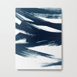 Gestural Abstract Indigo Blue Brush Strokes Metal Print