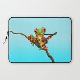 Tree Frog Playing Acoustic Guitar with Flag of Belgium Laptop Sleeve