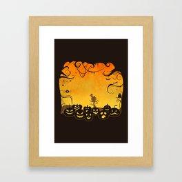 Halloween Pumpkin Faces Framed Art Print