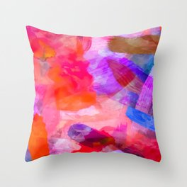 splash painting texture abstract background in purple pink red blue Throw Pillow