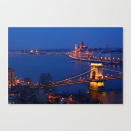 Panorama of Budapest, Hungary, with the Chain Bridge and the Parliament. Canvas Print