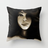 model Throw Pillows featuring Model by darylrbailey