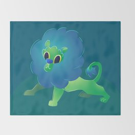Cute Green Baby Cartoon Lion Throw Blanket
