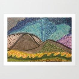 Zen Doodle Mountain Drawing Art Print