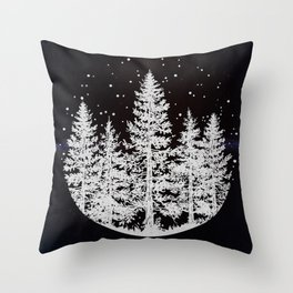 Trees in a Winter Forest Throw Pillow