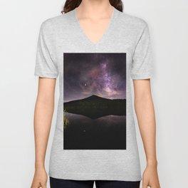 Appalachian Mountain Lake Galaxy Stars - Nature Photography Unisex V-Neck
