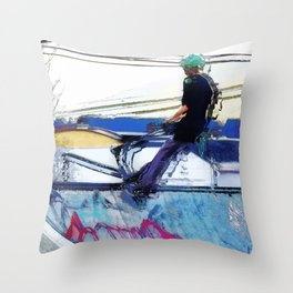Hanging On  -  Stunt Scooter Artwork Throw Pillow