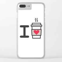 I LOVE COFFEE Clear iPhone Case
