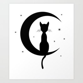 Cat on a Moon Silhouette (Lights) Art Print