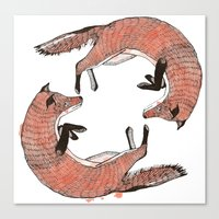 foxes Canvas Prints featuring Foxes by nicolaporter
