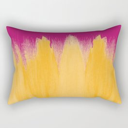 Mango Yellow Brushstrokes on Strawberry Pink Rectangular Pillow