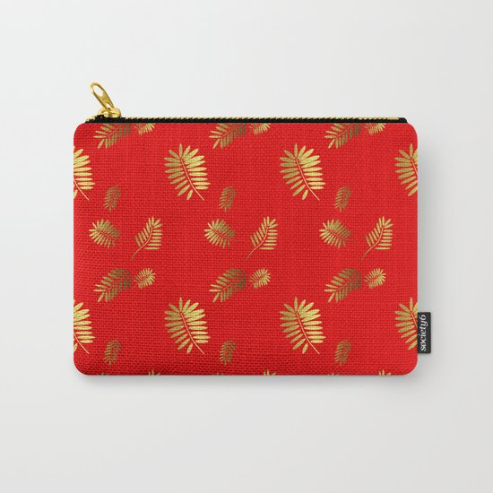 Tropical Pattern Red Carry-All Pouch