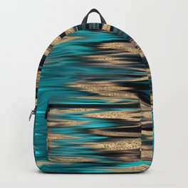 Turquoise and Gold Ikat Pattern Backpack