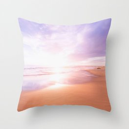 Sunset Beach Scene , Summertime, Pastel Sky Throw Pillow