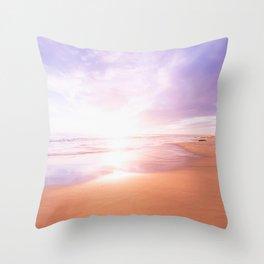 Sunset Beach Scene , Summertime, Pastel Sky Throw Pillow