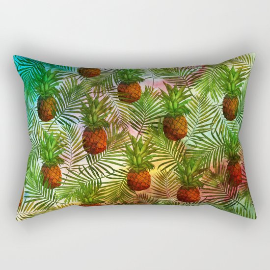 Pineapples - Tropical fruit watercolor illustration pattern Rectangular Pillow