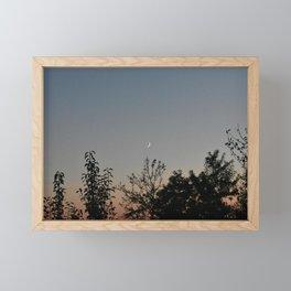 Crescent Moon at dusk Framed Mini Art Print