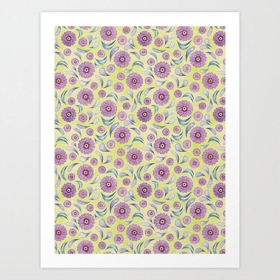 Floral on Lime Art Print