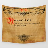 bible Wall Tapestries featuring Bible Verse Romans 3:23 by gcuda12