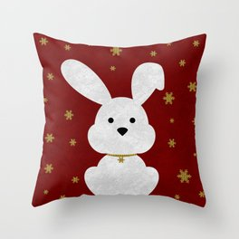 Christmas Bunny Red Marble Throw Pillow