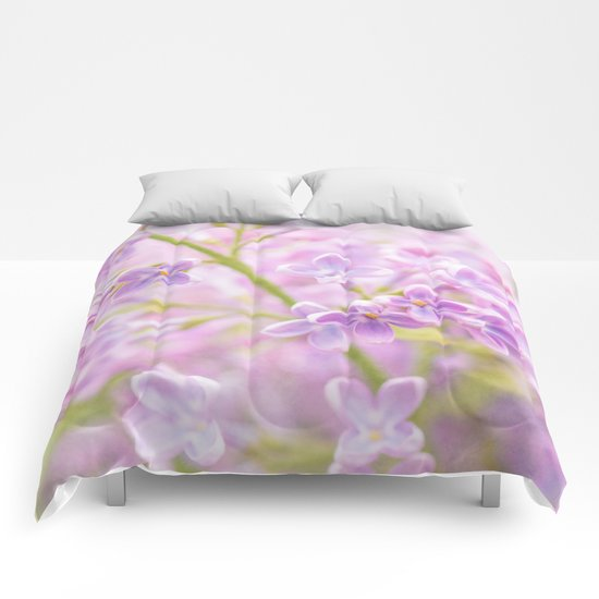 Lilac Flowers Mist Comforters