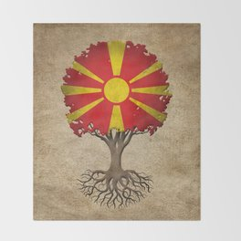 Vintage Tree of Life with Flag of Macedonia Throw Blanket