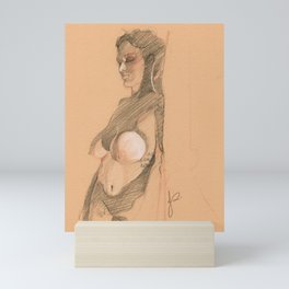 Drawing of Nude Woman with Tattoo Realistic Crosshatch Standing Female Figure Art Mini Art Print