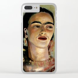 Portrait of Frida the Dove Clear iPhone Case