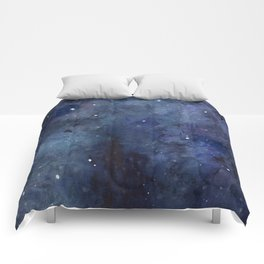 Galaxy Nebula Watercolor Night Sky Stars Outer Space Blue Texture Comforters