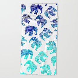 Boho turquoise blue ombre watercolor hand drawn mandala elephants pattern Beach Towel
