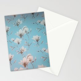 Floral Wallpaper Blue Stationery Cards