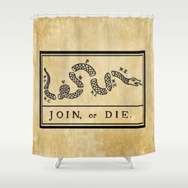 """1776 """"Join, or Die"""" Revolutionary War flag with 13 colonies, snake & no colors by Benjamin Franklin Shower Curtain"""