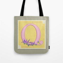Sellos Naturales. Letter Q. Flower: Autumn Crocus Tote Bag