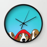 dogs Wall Clocks featuring dogs  by mark ashkenazi