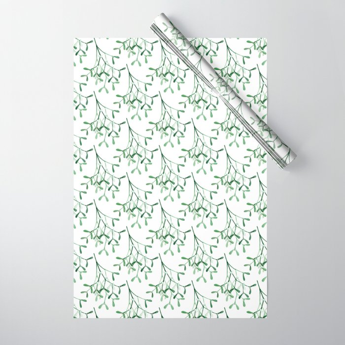 Watercolor mistletoe illustration Wrapping Paper