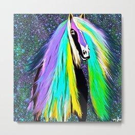 Friesian Horse Rainbow  Metal Print