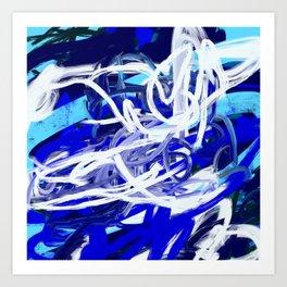 Blue & White Abstract Art Print