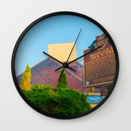 Cleveland Ohio Rock And Roll Hall Of Fame Pyramid View Wall Clock