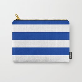 Dark Princess Blue and White Wide Horizontal Cabana Tent Stripe Carry-All Pouch