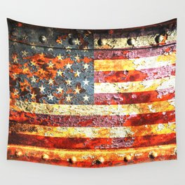 American Flag On Rusted Riveted Metal Door Wall Tapestry