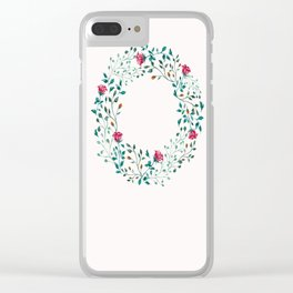 Spring Roses Wreath Pink Blush Clear iPhone Case