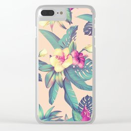 Blush Tropical Flowers Clear iPhone Case