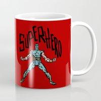 superhero Mugs featuring SuperHero by Logan_J