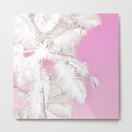 High palms in pink Metal Print